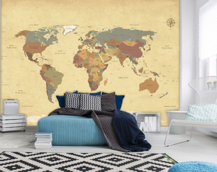 Photo wallpaper Map of The World Vintage